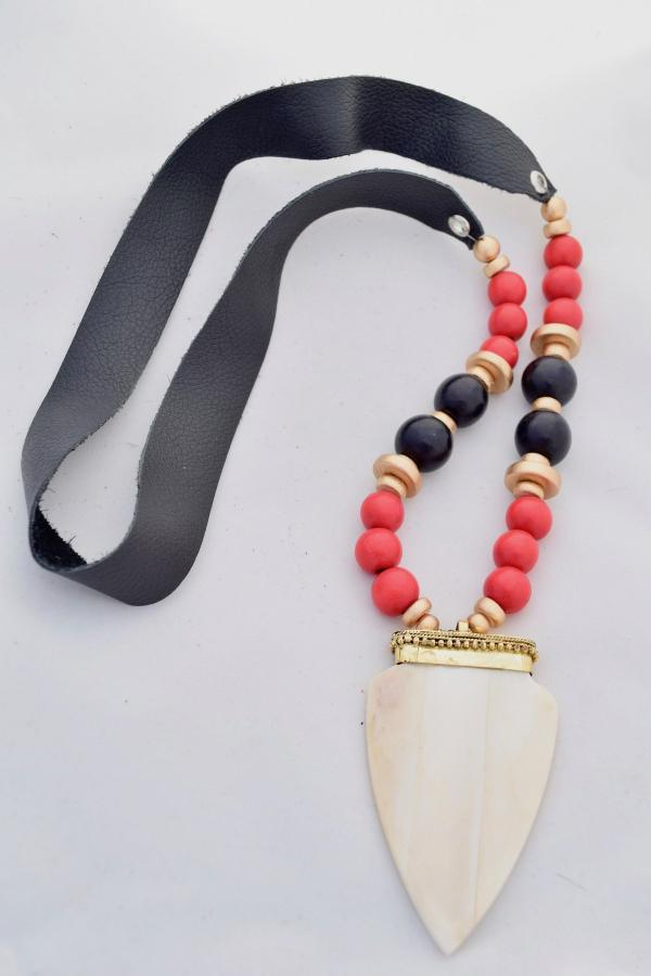 Red and Black Leather Necklace with Ivory Ox Bone Pendant