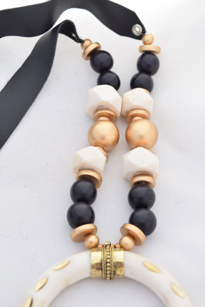 Black and Gold Leather Necklace with Ivory Horn