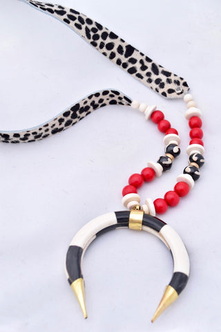 Faux Fur Cheetah Leather Necklace with Horn - Red and White
