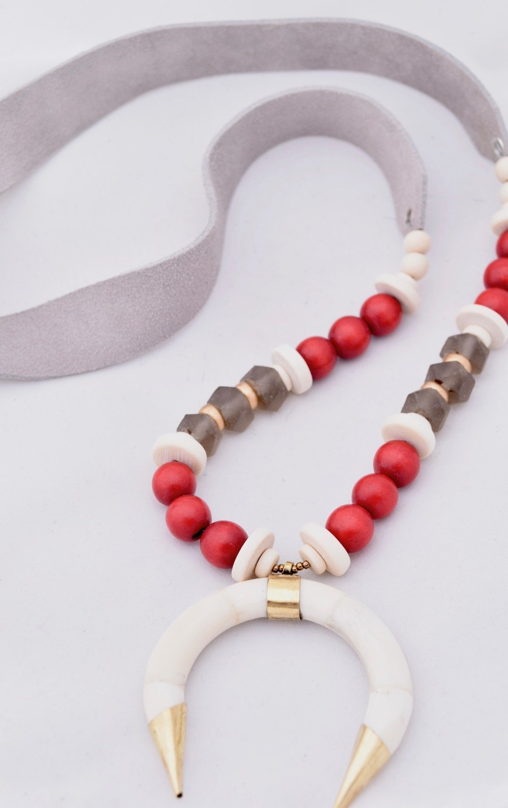 Gray Leather Suede Necklace with White Ivory Horn