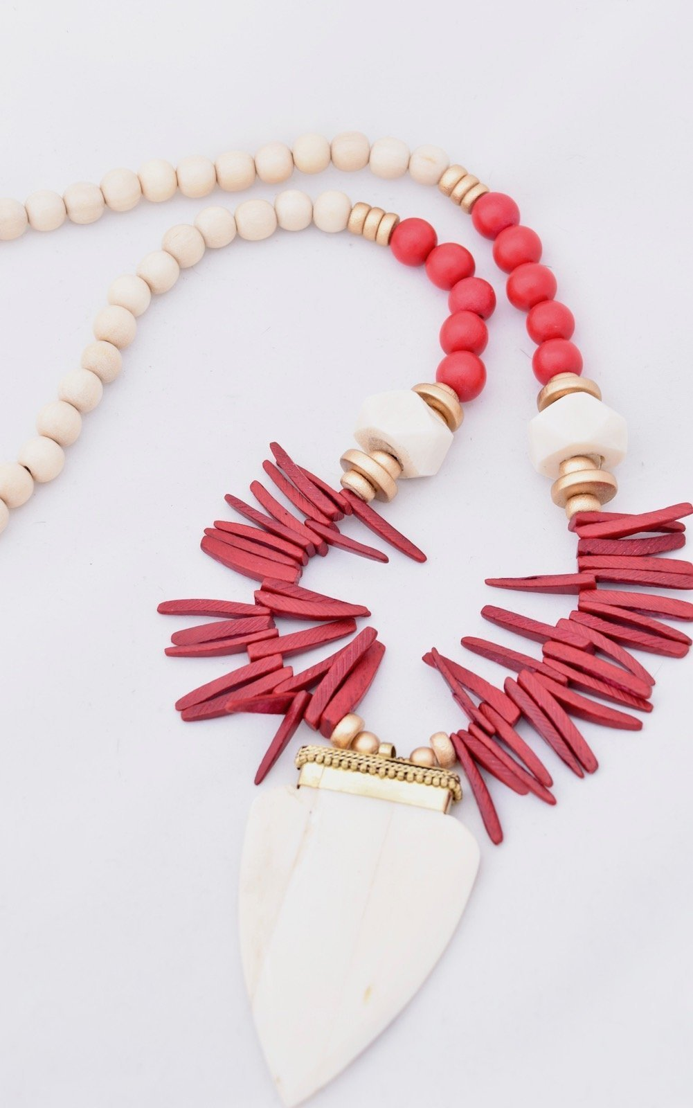 Abbey Red and White Coconut Spike Necklace