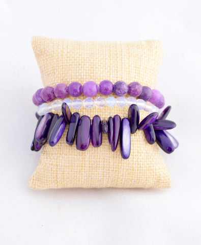 Purple Spike Bracelet Stack