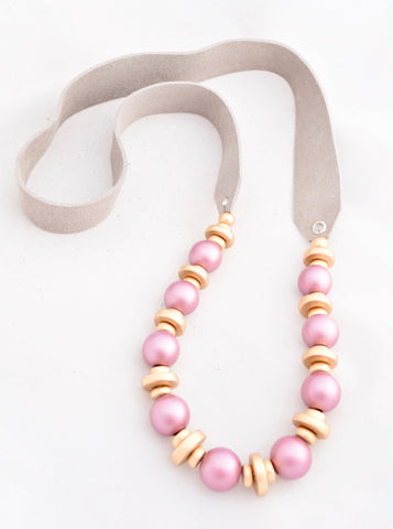 Laura Lavender Pearl and Gold Necklace on Gray Leather Strap, Summer