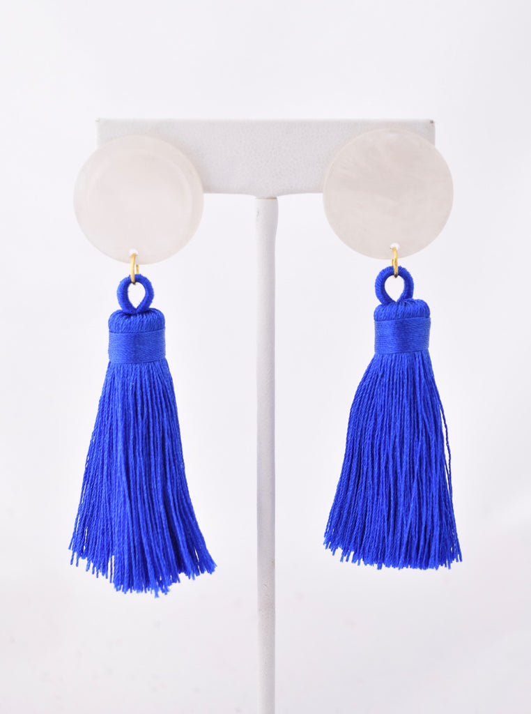 Becca Cobalt Silk Tassel White Resin Earring