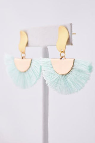 Nancy Mint Cotton Tassel/Fan Fringe Earring