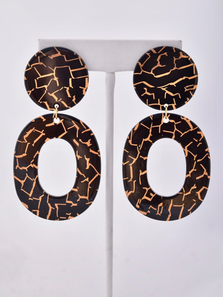 Natalie - black and gold resin earrings, Best Seller
