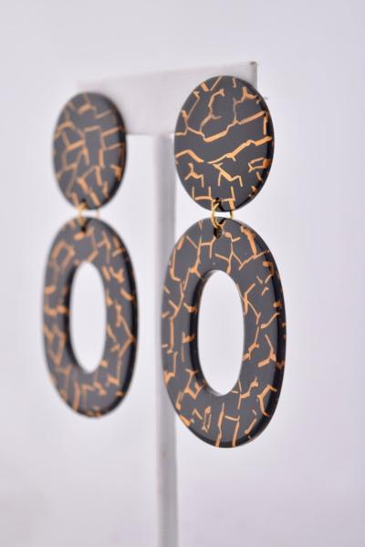 Natalie - black and gold resin earrings