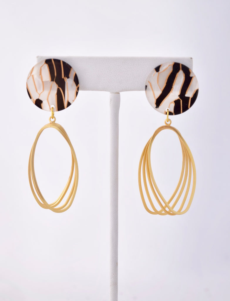 Kimberly - black and gold resin earring with gold twist dangle, Best Seller