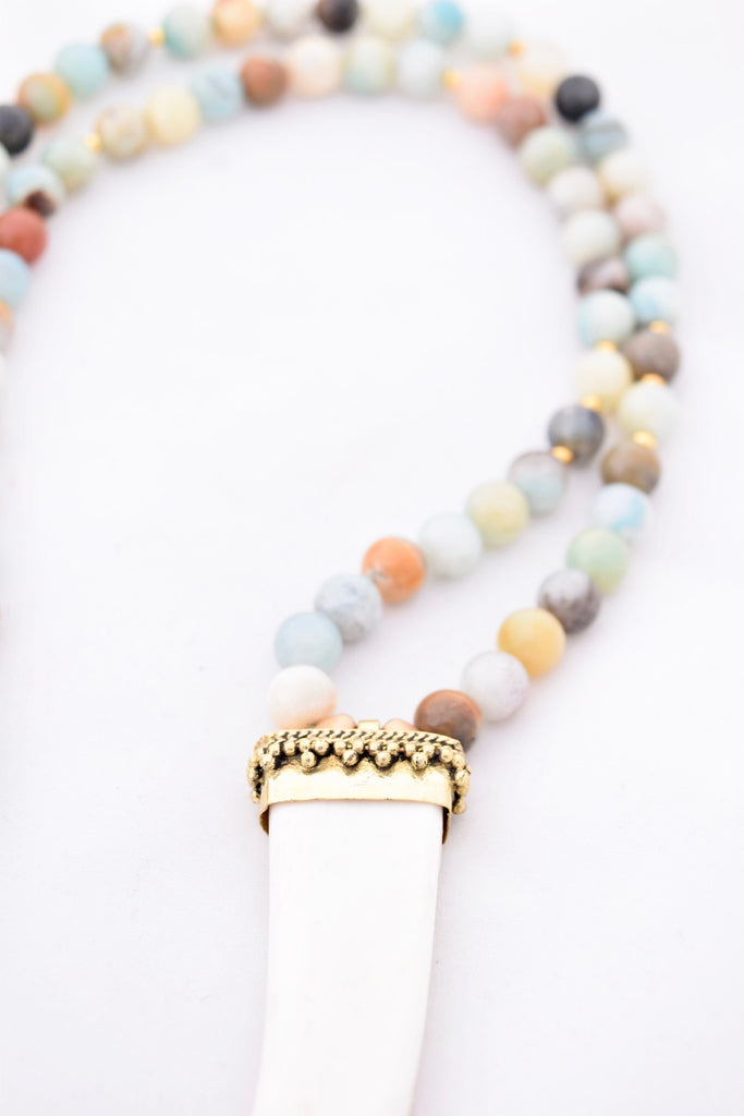 Maggie Ivory Amazonite Statement Necklace
