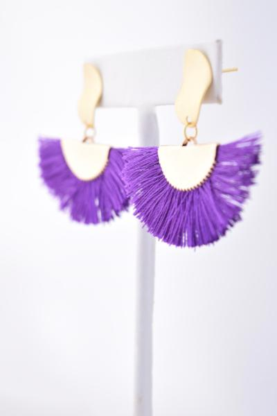 Nancy Purple Cotton Tassel/Fan Fringe Earring, Summer