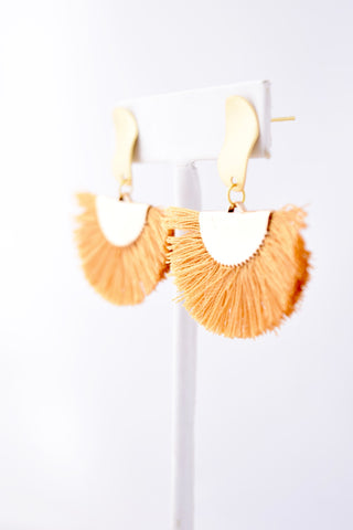 Nancy Mustard Cotton Tassel/Fan Fringe Earring