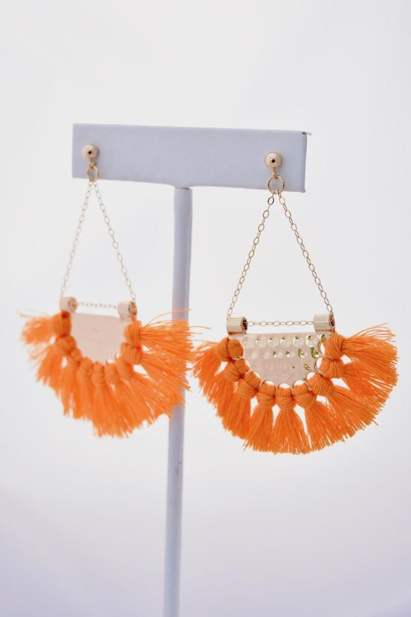 Kendra Orange Fringe Boho Statement Earrings