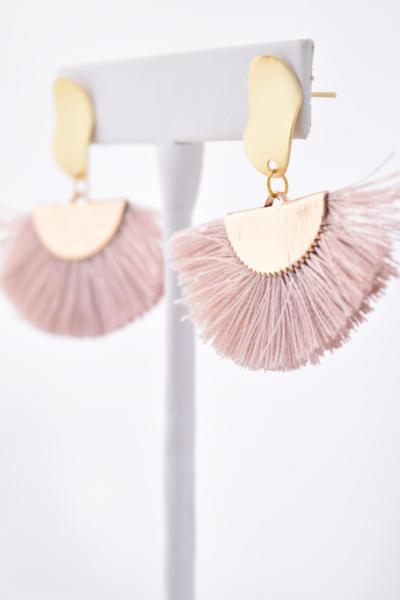 Nancy Champagne Cotton Tassel/Fan Fringe Earring