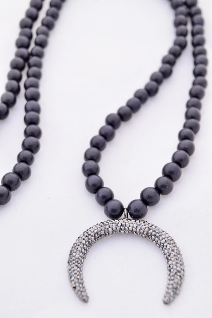 Amanda Black and Silver Pave Crescent Necklace