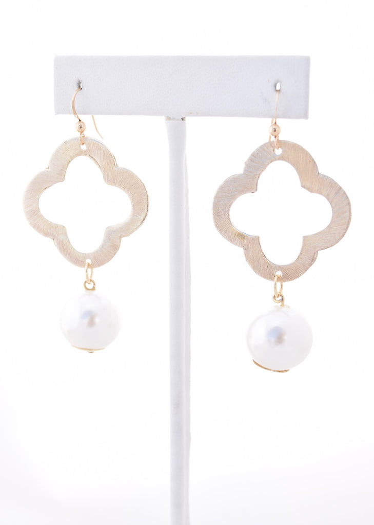 Pearl Quatrefoil Earrings