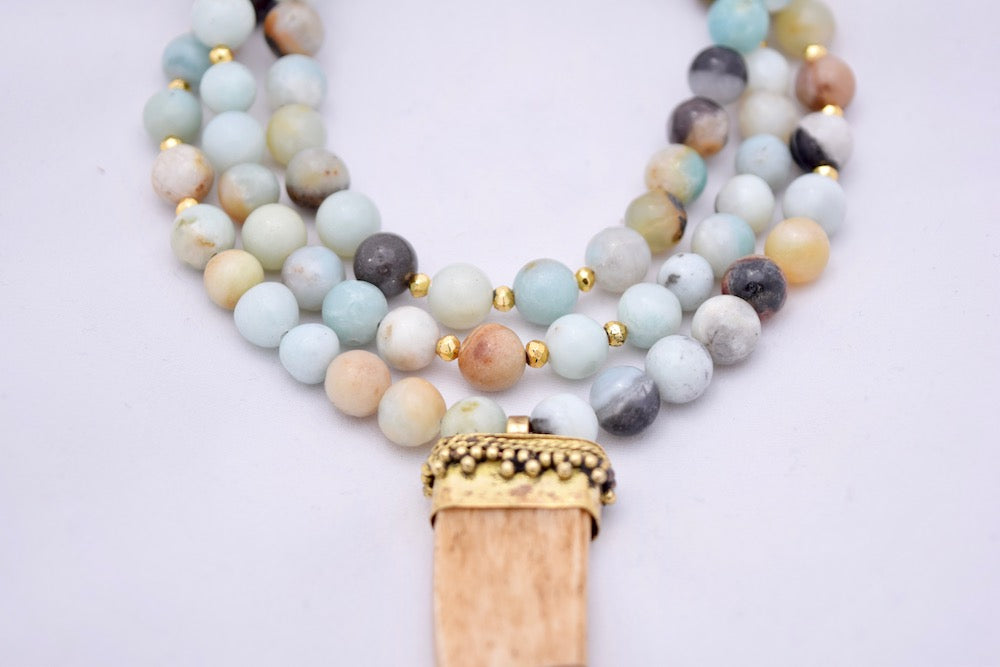 Maggie Brown Amazonite Statement Necklace