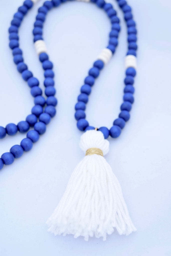Charlie Blue and White Beaded Tassel Necklace
