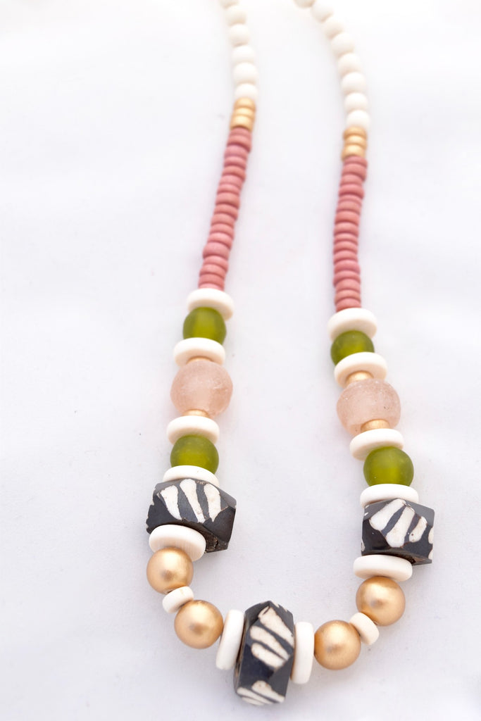 Madison Pink and Olive Beaded Necklace