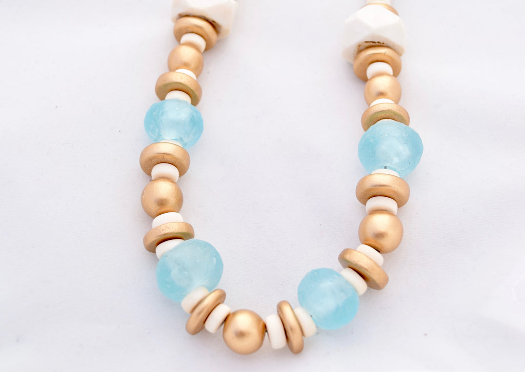 Madison Blue and Ivory Beaded Necklace