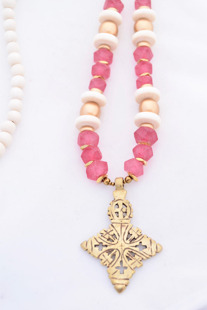 Mae Pink Beaded Cross Necklace
