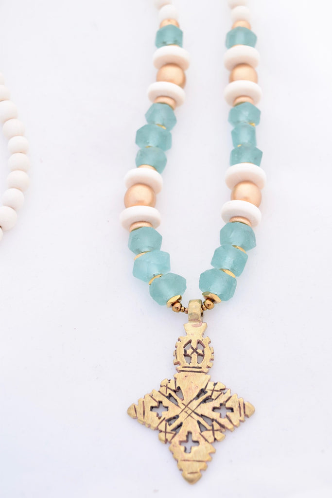 Mae Seafoam Beaded Cross Necklace