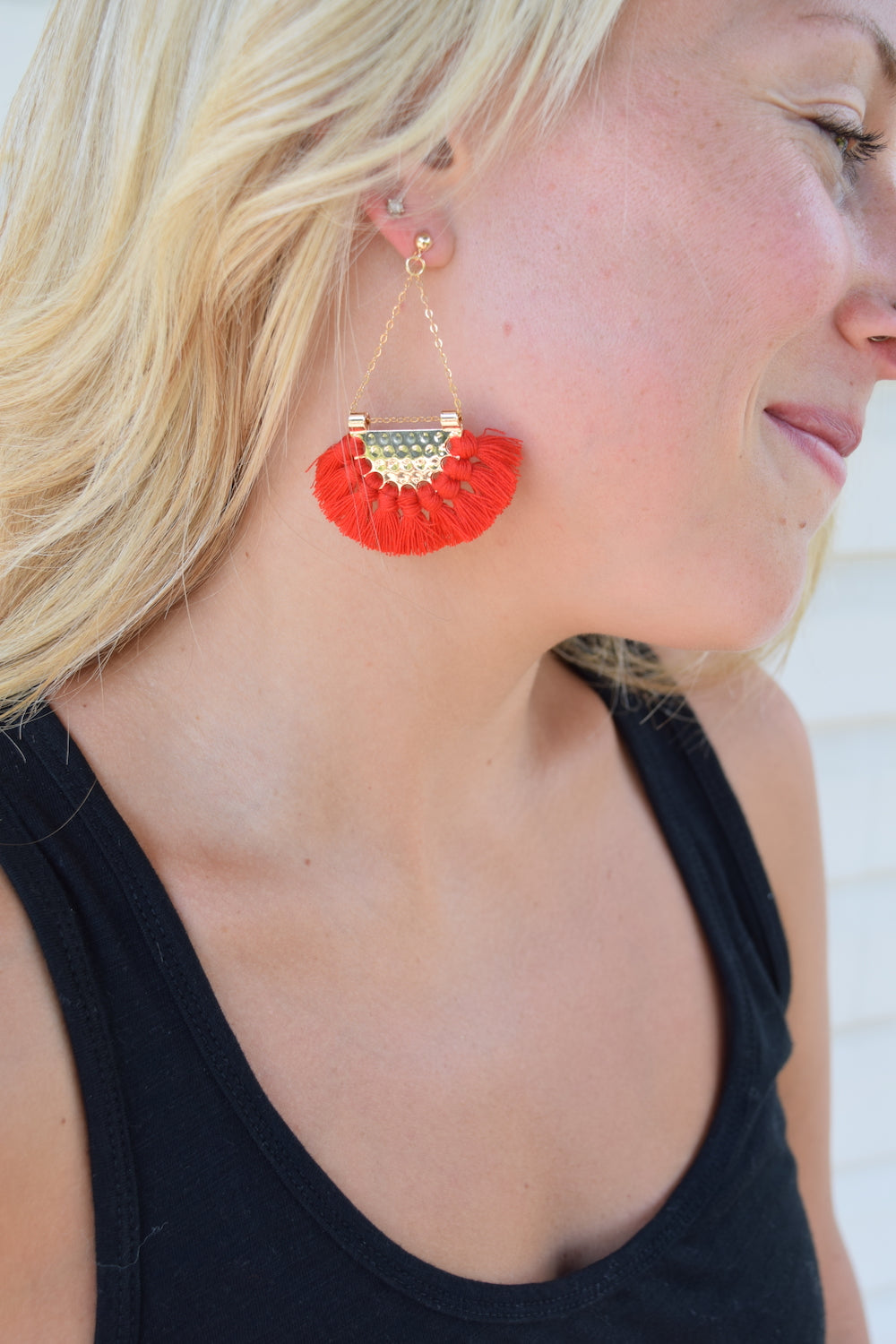 Kendra Red Fringe Boho Statement Earrings