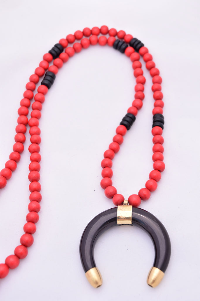 Stacey Red Black Statement Necklace