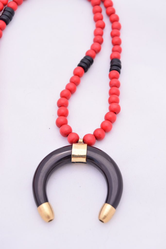 Stacy Red and Black Statement Necklace