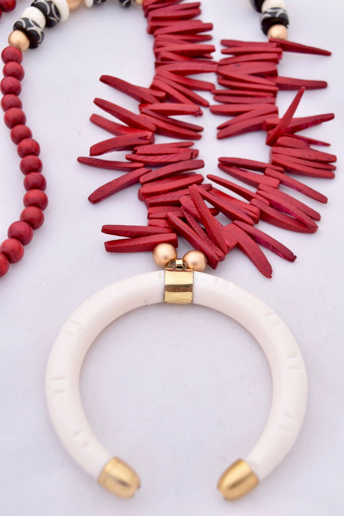 Logan Red and Ivory Boho Statement Necklace