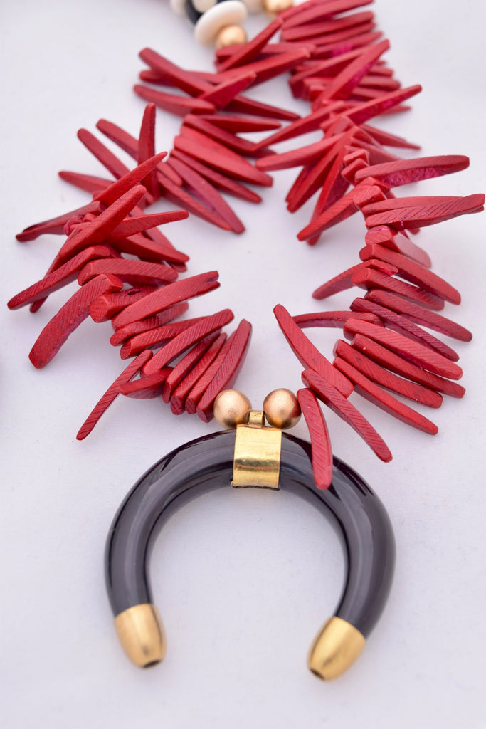Logan Red and Black Boho Statement Necklace