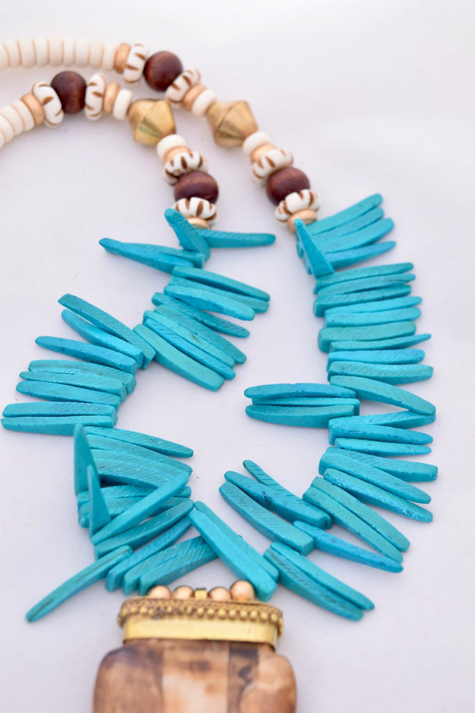 Abbey Turquoise and Brown Boho Spike Necklace