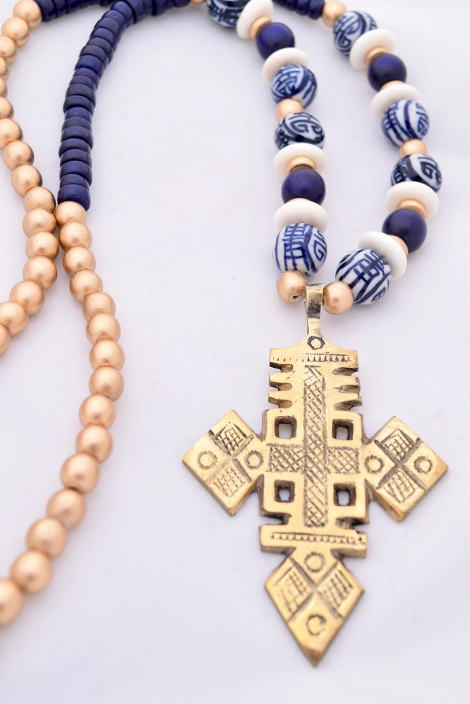 Baylor Blue, White & Gold Cross Statement Necklace