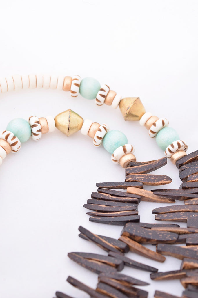Abbey Brown and Mint Boho Spike Necklace