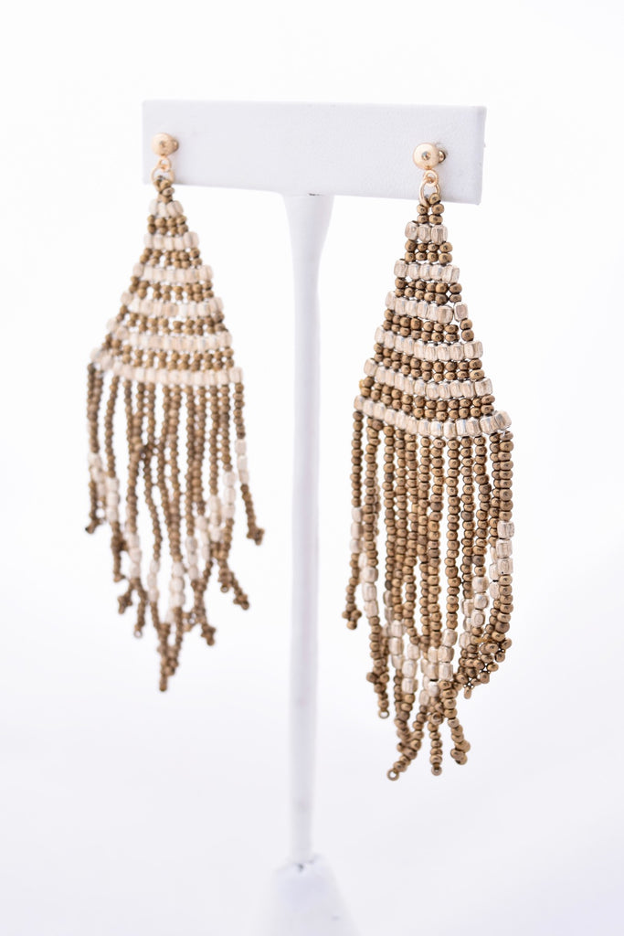Jade Silver and Gold Beaded Tassel Earrings