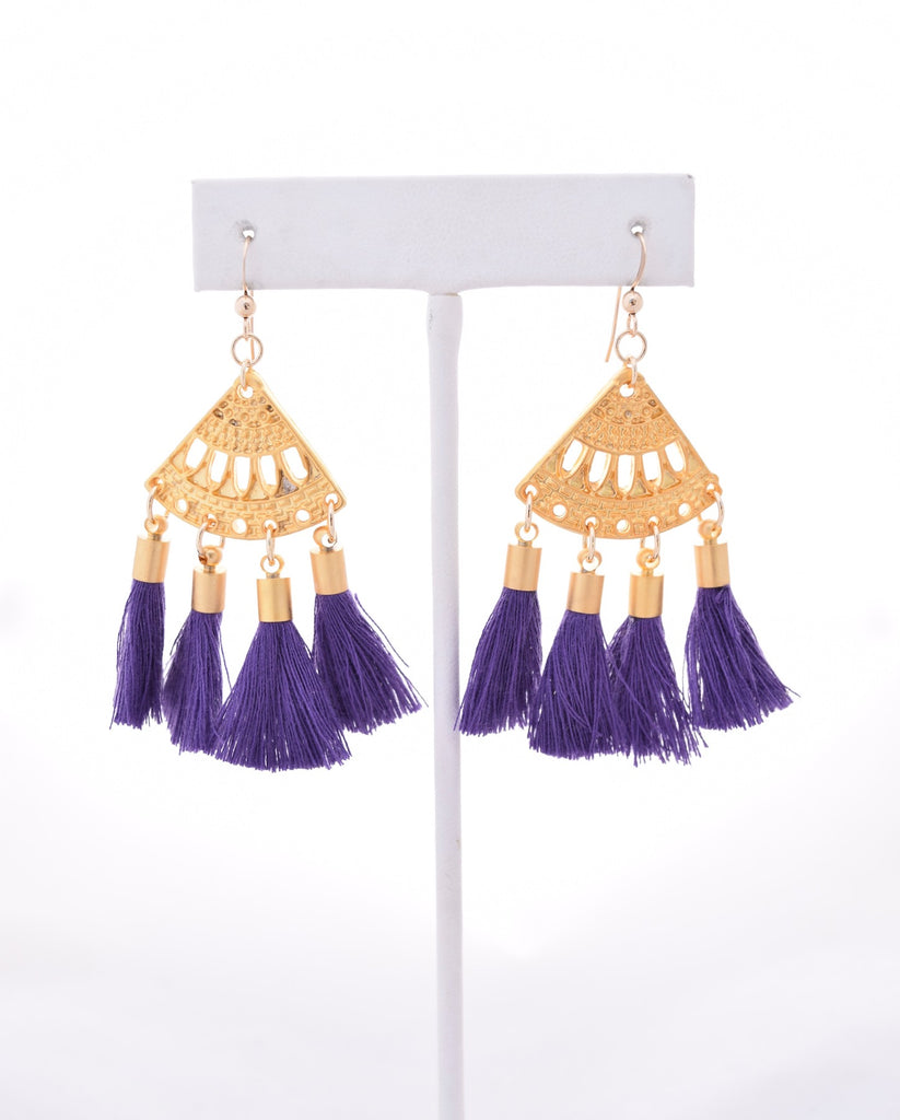 Presley Purple Boho Tassel Earrings