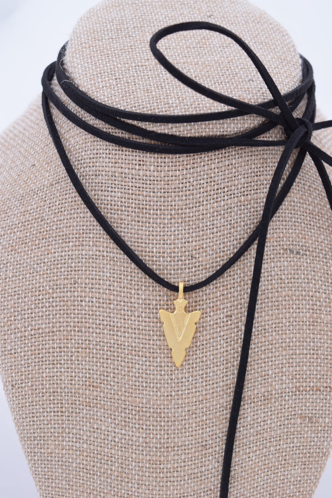 Black and Gold Arrowhead Choker Necklace