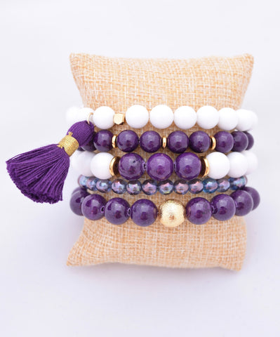 Purple and White Bracelet Stack