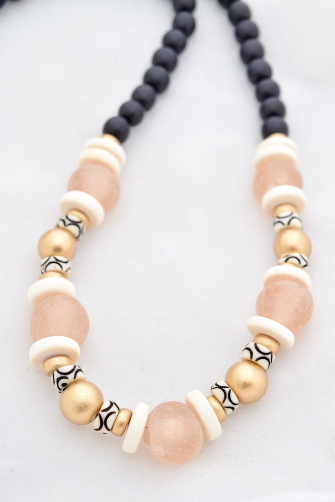 Madison Pink and Black Beaded Necklace
