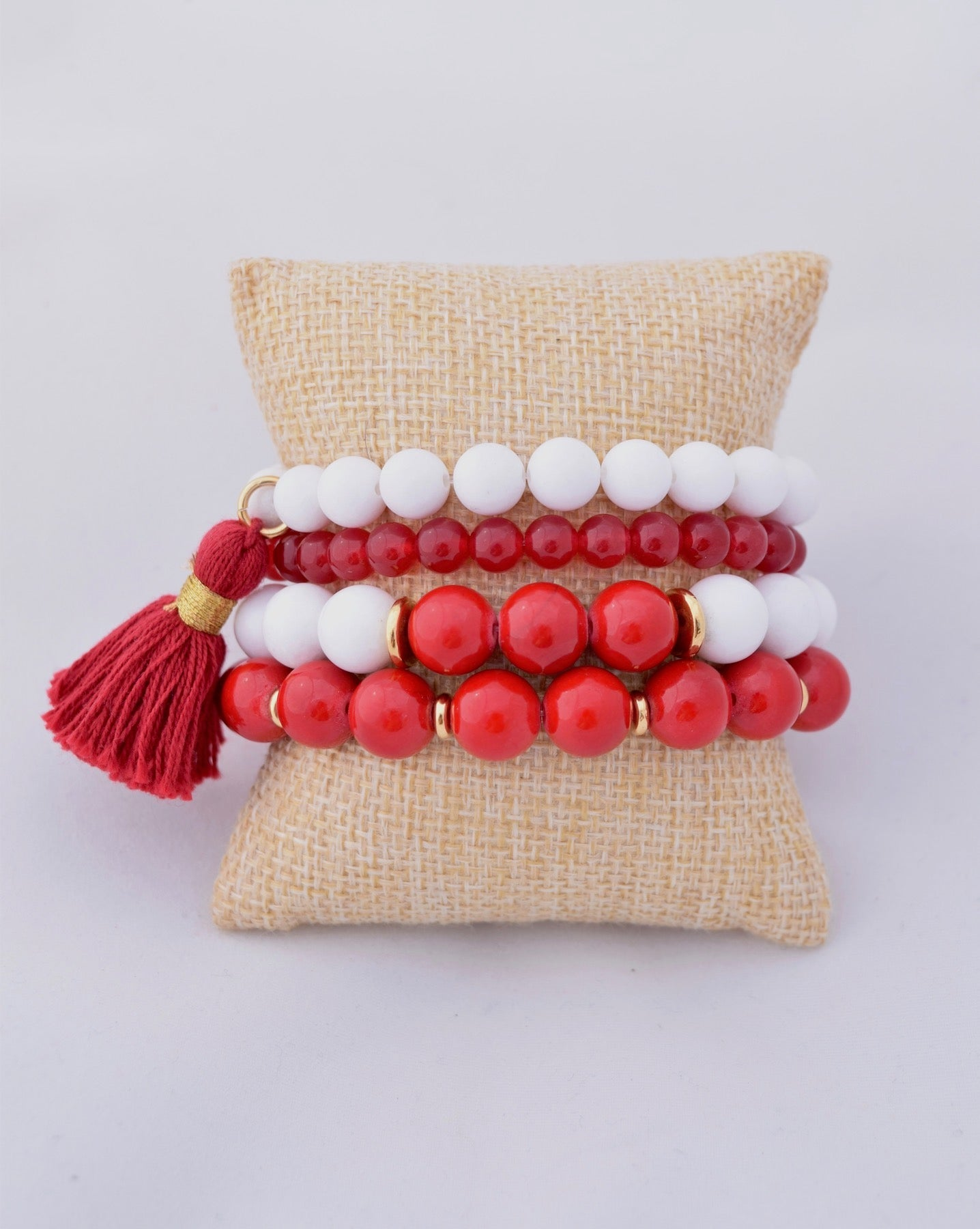 Red and White Beaded Bracelet Stack