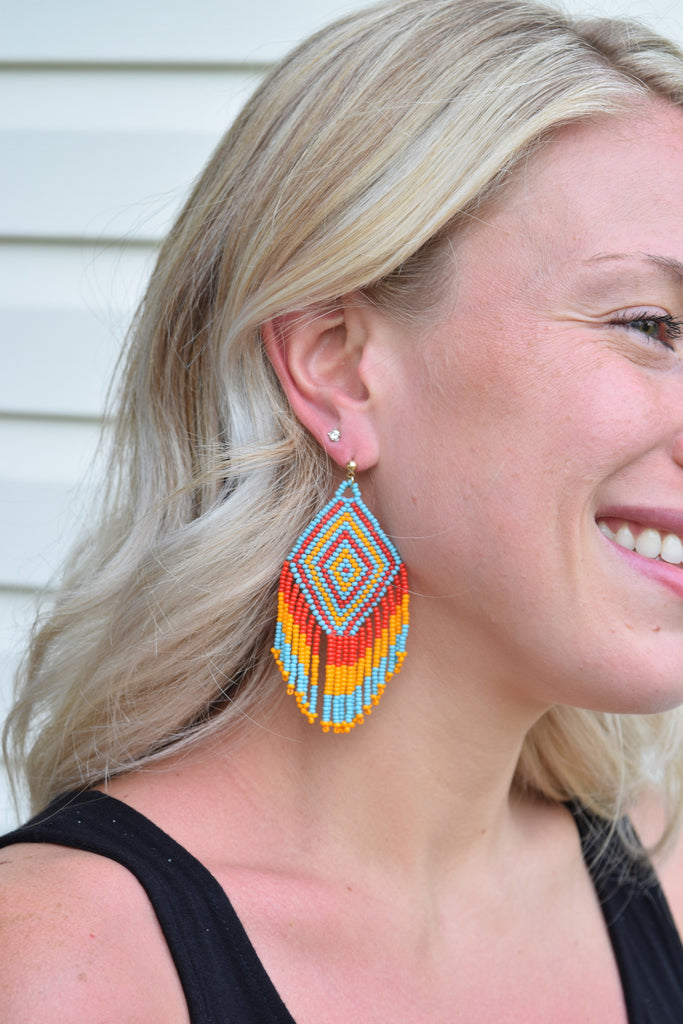 Jade Turquoise and Orange Beaded Tassel Earrings