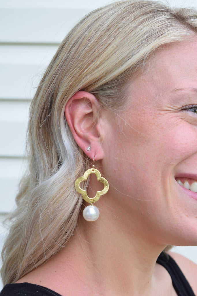 Pearl Quatrefoil Earrings - VDAY