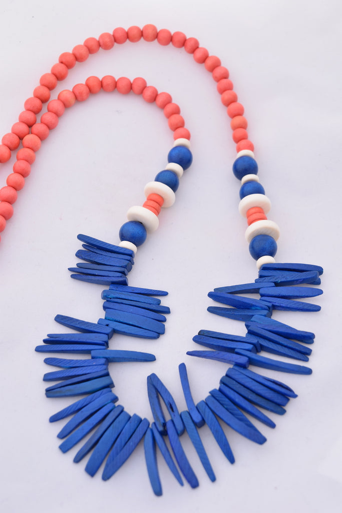 Elise Blue and Orange Boho Statement Necklace