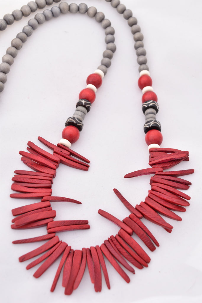 Elise Red and Gray Boho Statement Necklace