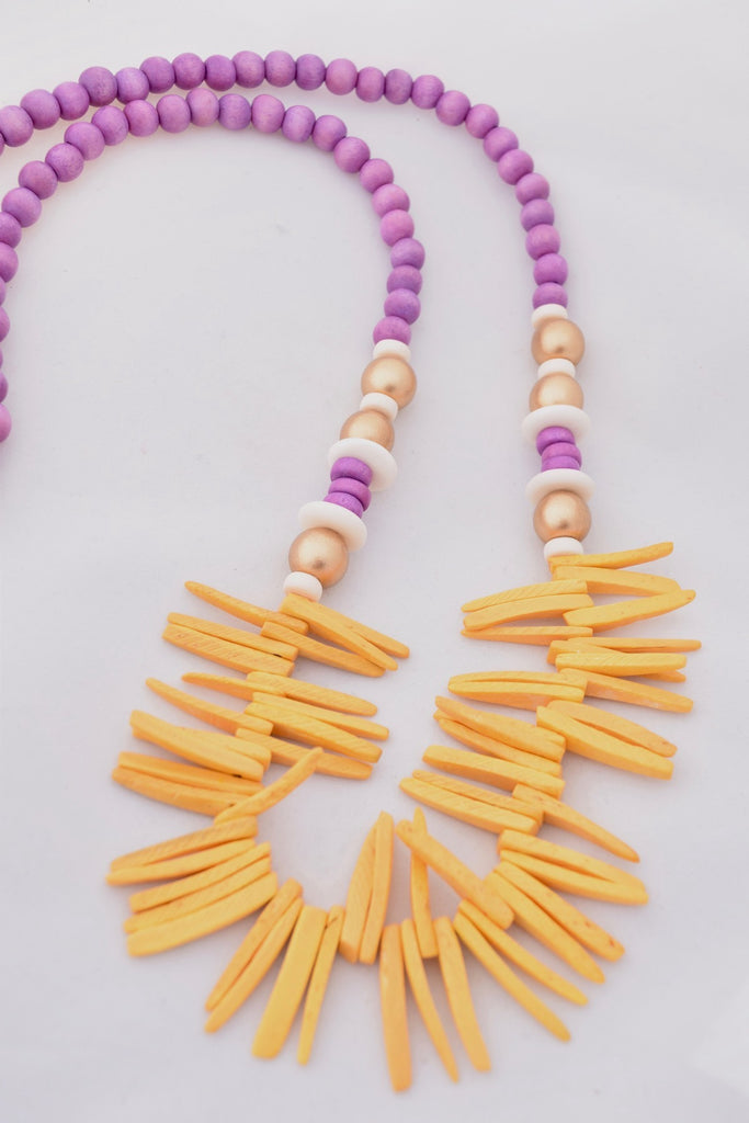 Elise Purple and Yellow Boho Statement Necklace