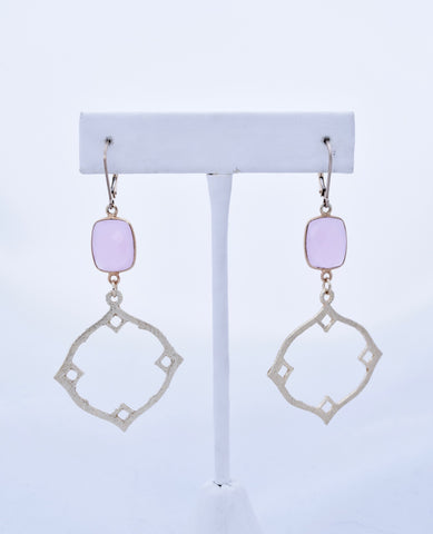 Gold Geometric and Pink Gemstone Earrings