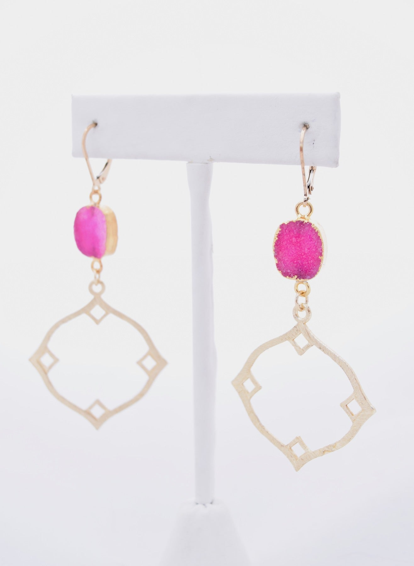 Gold Geometric and Hot Pink Druzy Earrings