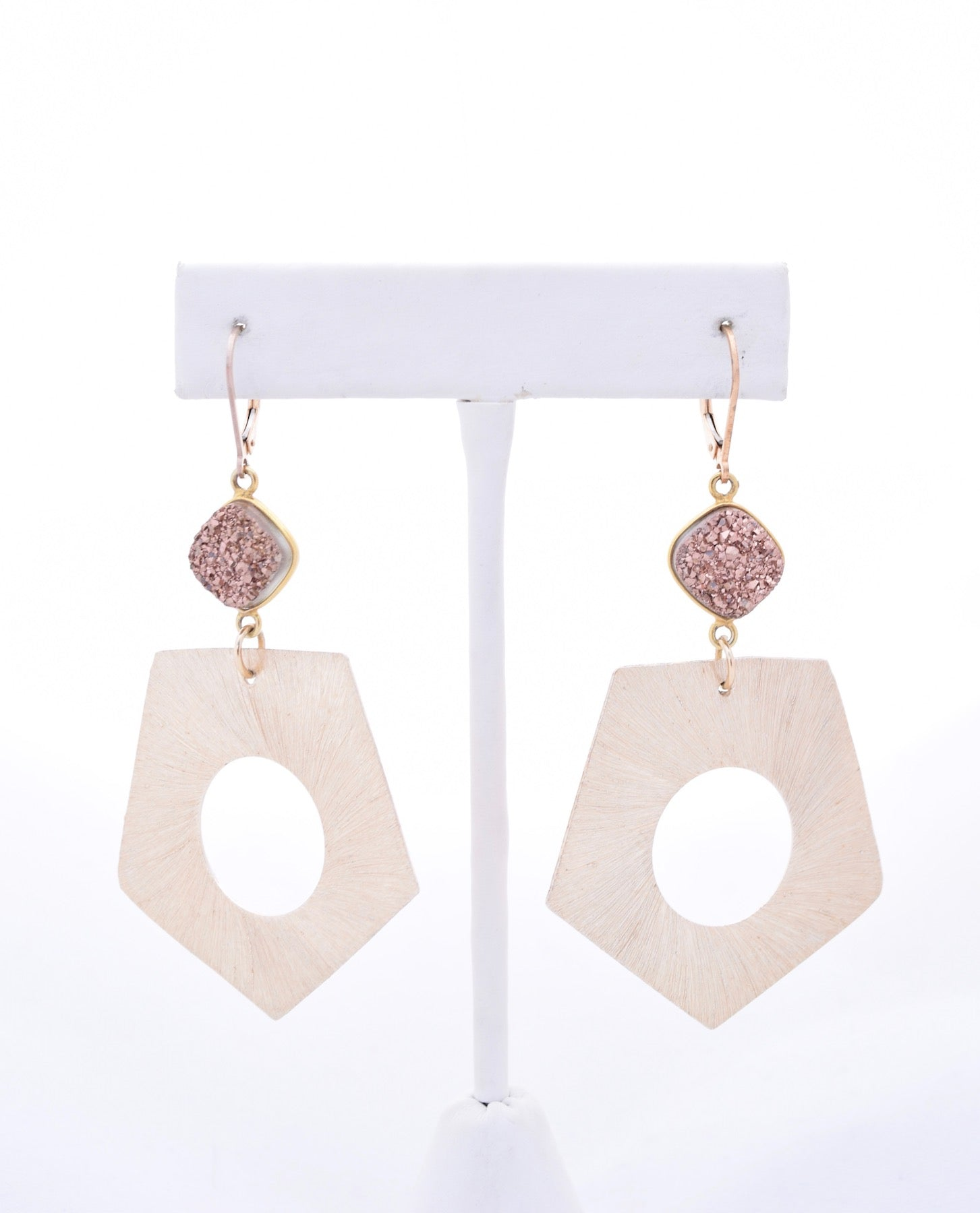 Gold Geometric and Rose Gold Druzy Earrings