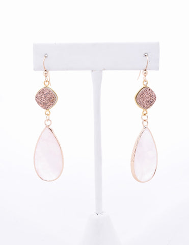 Rose Gold Druzy and Rose Quartz Earrings