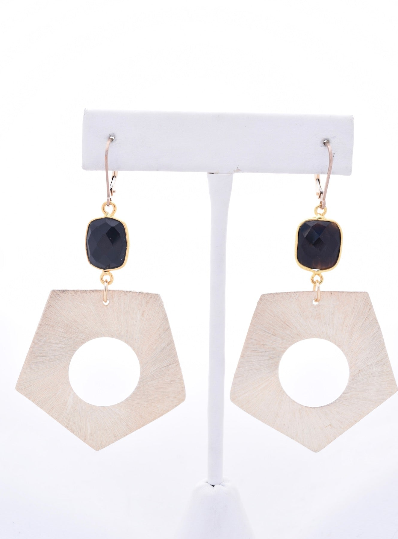Gold Geometric and Black Onyx Earrings