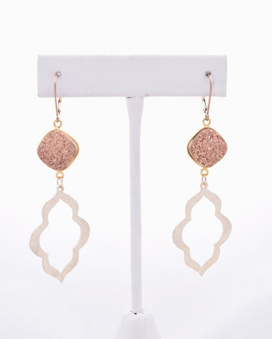 Rose Gold Druzy and Geometric Keyhole Earrings